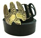 Exclusive Leather Belt with HANDMADE  Buckle Brass *FALCON TRIDENT*