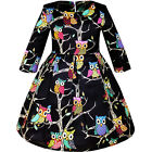 Girls Dress Fit-and-flare Owl Print Party Long Sleeve Cute Size 4-14 US Seller