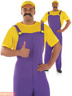 Mens Plumbers Mate Costume Adults Super Mario Luigi Fancy Dress 80s Video Outfit
