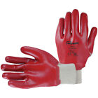 Mens So Safe PVC Fully Coated Knitwrist EN388 Work Gloves Pair Red Size 10