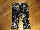 New!  OSO Casuals Black and White Floral Stretch Capri Pants