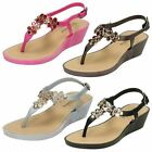 Ladies Savannah Collection Toe Post Wedge Sandals F10432
