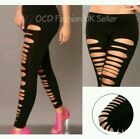 Sexy Womens Goth Punk Slashed Ripped Cut Out Slit Stretchy Pants Leggings 08-14