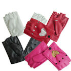 Women Short Leather Gloves Half Finger Fingerless Dance Stage Driving Newly