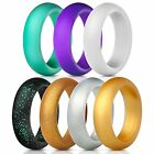 Silicone Rings Wedding Bands 7 Pack, Women/Unisex Great for Gym,Travel,