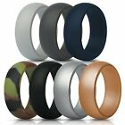 Silicone Rings Wedding Bands 7 Pack, Mens/Unisex Great for Gym,Travel,Work
