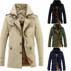 Mens Winter Trench Coat Warm Thicken Fleece Jacket Peacoat Long Fashion Overcoat