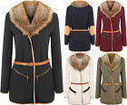 Womens Long Sleeve Belted Patch Quilted Faux Fur Collar Jacket Ladies Cardigan