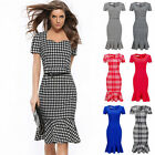 New Women Elegant Plaid Three Quarter Slim Work Business Office Pencil Dress hbc