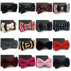 Men Polka Dot Solid Color Striped Knitted Bowtie Winter Weave Adjustable Bow Tie $5.29 CAD on eBay