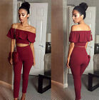 Womens 2 Piece Crop Top Jumpsuit Ladies Sleeveless Cut Out Playsuit Size 6-12