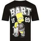 LICENSED* THE SIMPSONS BART Skateboard Since 1989 BLACK T-SHIRT New DHL Shipping