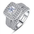 Cubic Zirconia Wedding Engagement Ring Set Square Cushion Cut Solitaire Halo