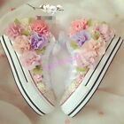 Womens Rhinestone Floral lolita sneakers canvas high top ankel boots flats shoes