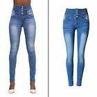 New Women High Waist  Breasted Stretch Skinny  Ladies Denim Pants Trousers Jeans