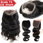 Lace Closure 7A 100% Virgin Human Hair Frontal 360 One Bundle Straight Wave US