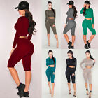Womens Bodycon Bandage Two Piece Crop Top and Pants Set Bodysuit Playsuit Romper