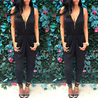 UK Sexy Ladies Womens V Neck Backless Jumpsuit Romper Playsuit Party Zip Dress