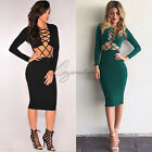 Womens Bodycon Strappy Evening Party Cross Ladies Bandage Midi Dress Cocktail