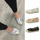 WOMENS LADIES FLAT MESH SLIP ON SEQUIN CASUAL SUMMER ESPADRILLES SHOES SIZE