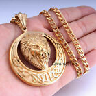 NEW Lion Carved Celtic Knot Men Chain Gold 316L Stainless Steel Pendant Necklace