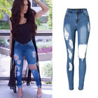 Retro Womens High Waist Stretch Ripped Skinny Ladies Denim Pants Trousers Jeans