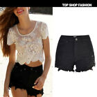 Fashion Women Ladies Vintage Summer Lace Ripped Hole Denim Shorts Jeans Hotpants