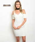Women Sexy Off White Short Sleeve Open Shoulder Mini Bodycon Party Dress S-L