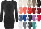 Womens Stretch Bodycon Round Neck Fluffy Long Sleeve Top Sweater Ladies Jumper