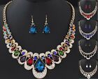 Women Bib Chain Crystal Pendant Collar Choker Statement Necklace Set Earrings