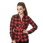 Banned Womens No Boundaries Red/Black Chequered Plaid Long Sleeved Shirt