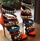 Fashion New Womens Roman Stilettos High Heels Shoes Sandals Zip Rhinestone Pumps