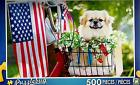 "2016 Jigsaw Puzzle 500pc All Amrican Pup Flag Dog 18.25""X11"" NEW #TY50"