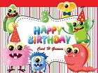 Funny Cute Monster Theme Happy Birthday Banner Custom Posters