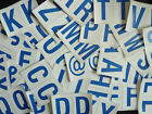 """75mm 3"""" Blue on White Sticky Letters, Lettering Stickers, Plastic Labels"""