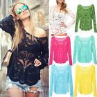 Women's Semi Sheer Sleeve Embroidery Floral Lace Crochet Top T-Shirt Blouse New