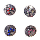Wholesale Lots Vintage Sliver Rhinestone Ladybug Alloy Snaps Fit 18mm Buttons