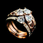 Rose Gold Plated Women Four Leaf Clover Ring Set Made With Swarovski Crystal R38
