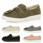WOMENS LADIES FLAT SLIP ON TWIST BOW KNOT DETAIL TRAINERS PUMPS SNEAKERS SIZE
