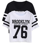 Women Fashion Letters Print Tops Blouse Short Sleeve Loose Casual Shirt Crop Top