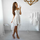Fashion Women Summer Sleeveless Lace Evening Party Cocktail Short Mini Dress USA