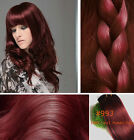 "Full Head Clip in Real Human Hair Extensions 14""-30"" Red Wine Burgundy #99J"