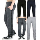 Mens Designer Side Panel Fleece Joggers Plain Cuffed Track Bottoms Sweat Pants