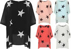 Plus Womens Oversized Chiffon Top Ladies Star Print Sheer Lined Short Sleeve