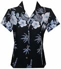Hawaiian Shirt Women Bamboo Tree Print Aloha Beach Top Blouse