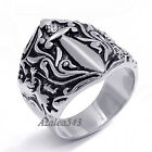Men's Silver Lion Sword King Noble Knight Solid Stainless Steel Band Ring