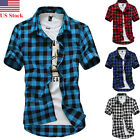 New Mens Short Sleeve Stylish Slim Fit Summer Button Down Check Plaid Shirts Top