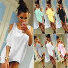 Ladies Off-shoulder Loose T Shirt Top Women's Crew Neck 3/4 Sleeve Casual Blouse