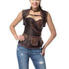 Steampunk Armor Corset Gothic Vintage Brown Brocade Leather Bustiers Plus 6XL
