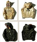 A Bathing Ape BAPE Unisex Double-Sided Wear Golden Coat Jacket Hoodie Full Zip